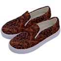 DAMASK1 BLACK MARBLE & RUSTED METAL Kids  Canvas Slip Ons View2