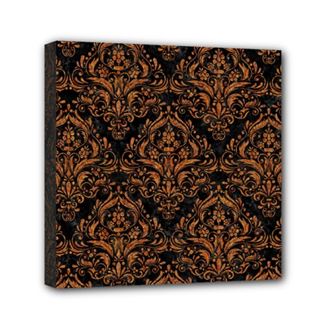 DAMASK1 BLACK MARBLE & RUSTED METAL (R) Mini Canvas 6  x 6