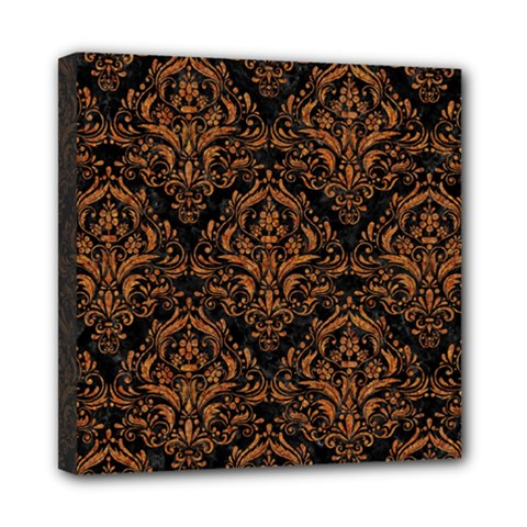 Damask1 Black Marble & Rusted Metal (r) Mini Canvas 8  X 8  by trendistuff