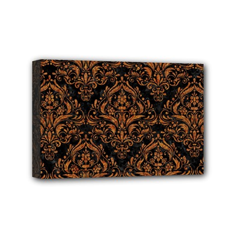 DAMASK1 BLACK MARBLE & RUSTED METAL (R) Mini Canvas 6  x 4