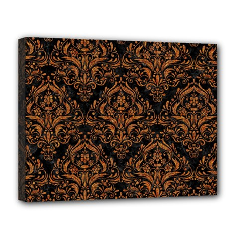 DAMASK1 BLACK MARBLE & RUSTED METAL (R) Canvas 14  x 11