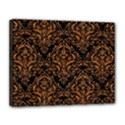 DAMASK1 BLACK MARBLE & RUSTED METAL (R) Canvas 14  x 11  View1