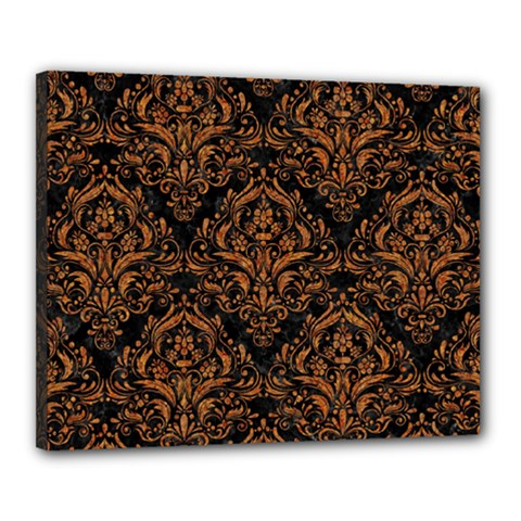 DAMASK1 BLACK MARBLE & RUSTED METAL (R) Canvas 20  x 16