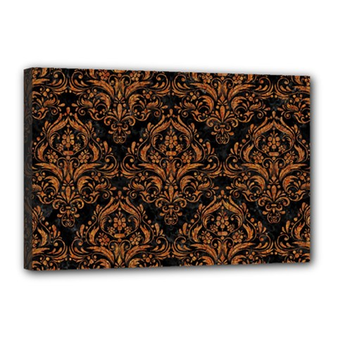 DAMASK1 BLACK MARBLE & RUSTED METAL (R) Canvas 18  x 12