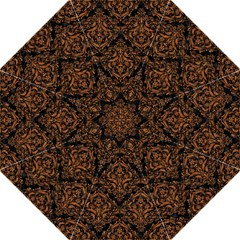 DAMASK1 BLACK MARBLE & RUSTED METAL (R) Straight Umbrellas