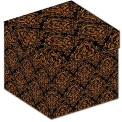 DAMASK1 BLACK MARBLE & RUSTED METAL (R) Storage Stool 12