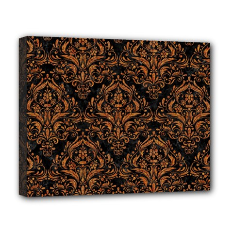 DAMASK1 BLACK MARBLE & RUSTED METAL (R) Deluxe Canvas 20  x 16