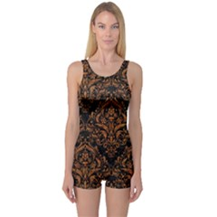 DAMASK1 BLACK MARBLE & RUSTED METAL (R) One Piece Boyleg Swimsuit