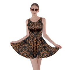 DAMASK1 BLACK MARBLE & RUSTED METAL (R) Skater Dress