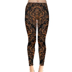 DAMASK1 BLACK MARBLE & RUSTED METAL (R) Leggings