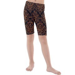 DAMASK1 BLACK MARBLE & RUSTED METAL (R) Kids  Mid Length Swim Shorts