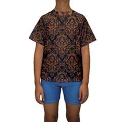 DAMASK1 BLACK MARBLE & RUSTED METAL (R) Kids  Short Sleeve Swimwear