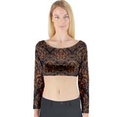 DAMASK1 BLACK MARBLE & RUSTED METAL (R) Long Sleeve Crop Top