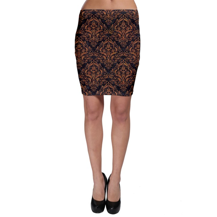 DAMASK1 BLACK MARBLE & RUSTED METAL (R) Bodycon Skirt