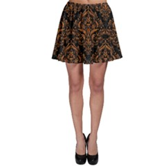 DAMASK1 BLACK MARBLE & RUSTED METAL (R) Skater Skirt