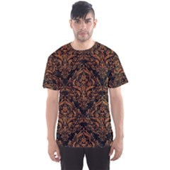 DAMASK1 BLACK MARBLE & RUSTED METAL (R) Men s Sports Mesh Tee