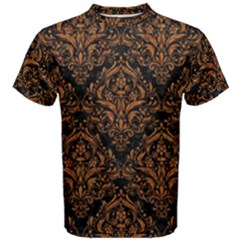DAMASK1 BLACK MARBLE & RUSTED METAL (R) Men s Cotton Tee