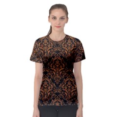 DAMASK1 BLACK MARBLE & RUSTED METAL (R) Women s Sport Mesh Tee