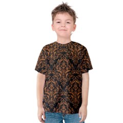 DAMASK1 BLACK MARBLE & RUSTED METAL (R) Kids  Cotton Tee