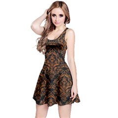 DAMASK1 BLACK MARBLE & RUSTED METAL (R) Reversible Sleeveless Dress
