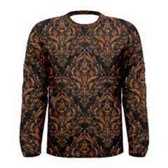 DAMASK1 BLACK MARBLE & RUSTED METAL (R) Men s Long Sleeve Tee