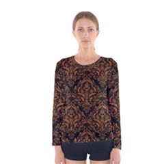 DAMASK1 BLACK MARBLE & RUSTED METAL (R) Women s Long Sleeve Tee