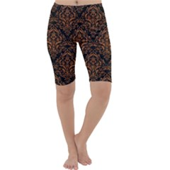 DAMASK1 BLACK MARBLE & RUSTED METAL (R) Cropped Leggings