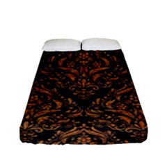 DAMASK1 BLACK MARBLE & RUSTED METAL (R) Fitted Sheet (Full/ Double Size)
