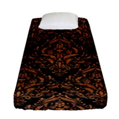 DAMASK1 BLACK MARBLE & RUSTED METAL (R) Fitted Sheet (Single Size)