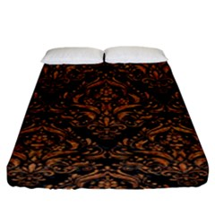 DAMASK1 BLACK MARBLE & RUSTED METAL (R) Fitted Sheet (King Size)
