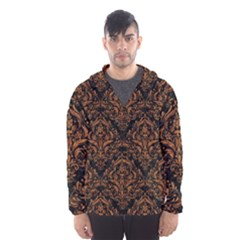 DAMASK1 BLACK MARBLE & RUSTED METAL (R) Hooded Wind Breaker (Men)