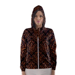 DAMASK1 BLACK MARBLE & RUSTED METAL (R) Hooded Wind Breaker (Women)