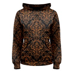 DAMASK1 BLACK MARBLE & RUSTED METAL (R) Women s Pullover Hoodie