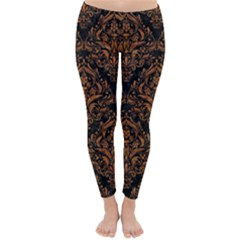 DAMASK1 BLACK MARBLE & RUSTED METAL (R) Classic Winter Leggings
