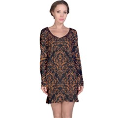 DAMASK1 BLACK MARBLE & RUSTED METAL (R) Long Sleeve Nightdress