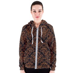 DAMASK1 BLACK MARBLE & RUSTED METAL (R) Women s Zipper Hoodie