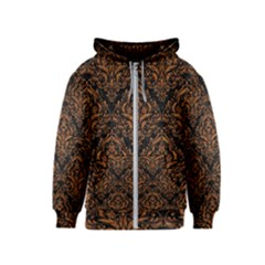 DAMASK1 BLACK MARBLE & RUSTED METAL (R) Kids  Zipper Hoodie