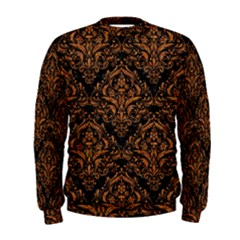 DAMASK1 BLACK MARBLE & RUSTED METAL (R) Men s Sweatshirt