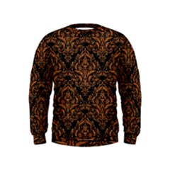 DAMASK1 BLACK MARBLE & RUSTED METAL (R) Kids  Sweatshirt