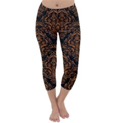 DAMASK1 BLACK MARBLE & RUSTED METAL (R) Capri Winter Leggings