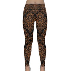 DAMASK1 BLACK MARBLE & RUSTED METAL (R) Classic Yoga Leggings