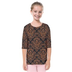DAMASK1 BLACK MARBLE & RUSTED METAL (R) Kids  Quarter Sleeve Raglan Tee