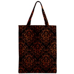 DAMASK1 BLACK MARBLE & RUSTED METAL (R) Zipper Classic Tote Bag
