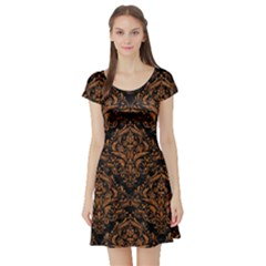 DAMASK1 BLACK MARBLE & RUSTED METAL (R) Short Sleeve Skater Dress