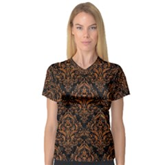 DAMASK1 BLACK MARBLE & RUSTED METAL (R) V-Neck Sport Mesh Tee