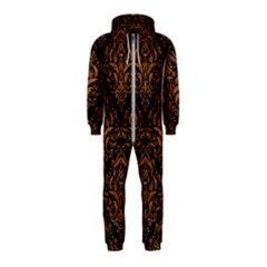 DAMASK1 BLACK MARBLE & RUSTED METAL (R) Hooded Jumpsuit (Kids)