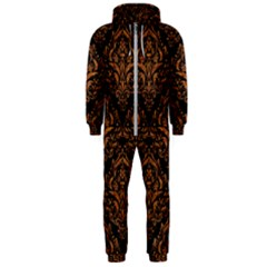 DAMASK1 BLACK MARBLE & RUSTED METAL (R) Hooded Jumpsuit (Men)