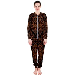DAMASK1 BLACK MARBLE & RUSTED METAL (R) OnePiece Jumpsuit (Ladies)