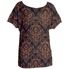 DAMASK1 BLACK MARBLE & RUSTED METAL (R) Women s Oversized Tee