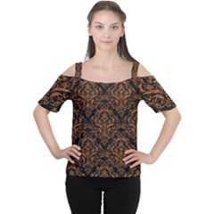 DAMASK1 BLACK MARBLE & RUSTED METAL (R) Cutout Shoulder Tee